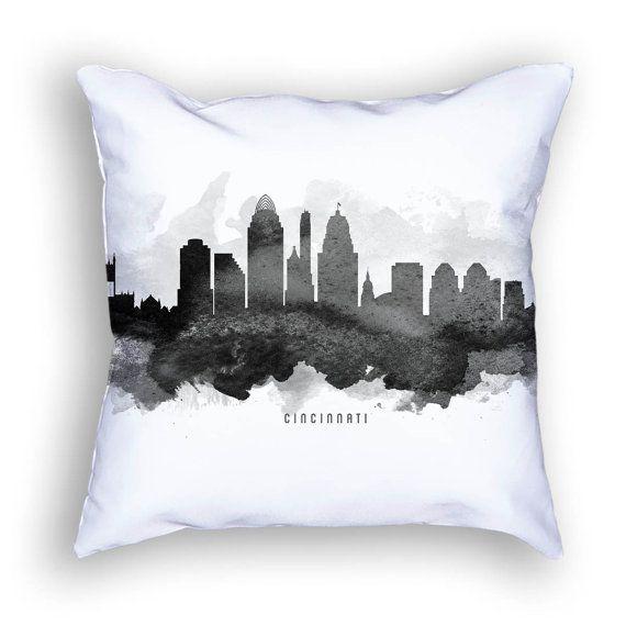 Cincinnati Pillow 18x18 Cincinnati Skyline Cincinnati Cityscape Cincinnati Art Cushion Home Decor Gift Idea Pillow Case 11 Home Toledo Casal