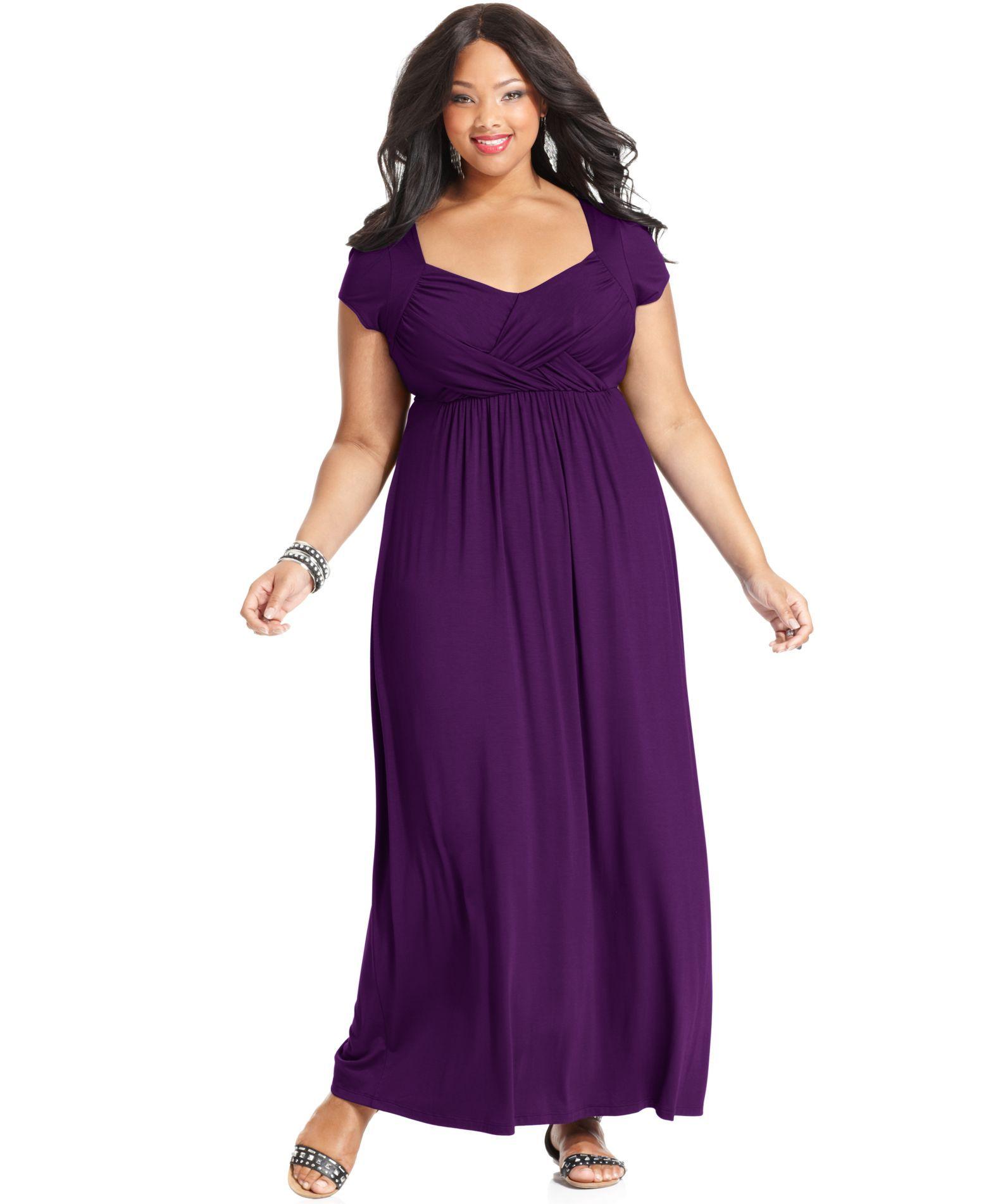 Soprano Plus Size Cap-Sleeve Empire Maxi Dress - Trendy Plus Sizes ...