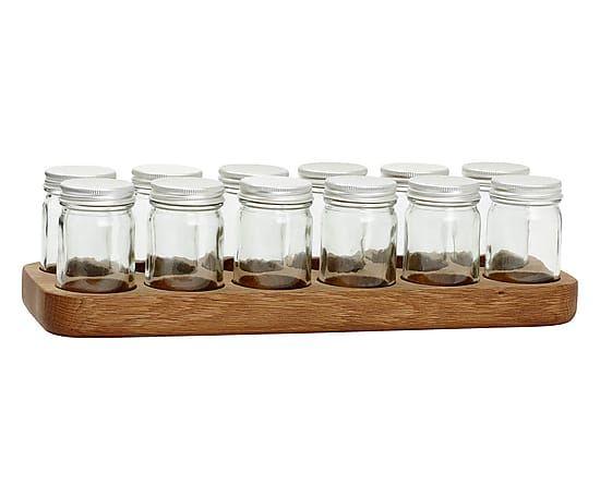 Vassoi In Legno Con Vetro : Set di portaspezie con vassoio frida in vetro e legno l cm