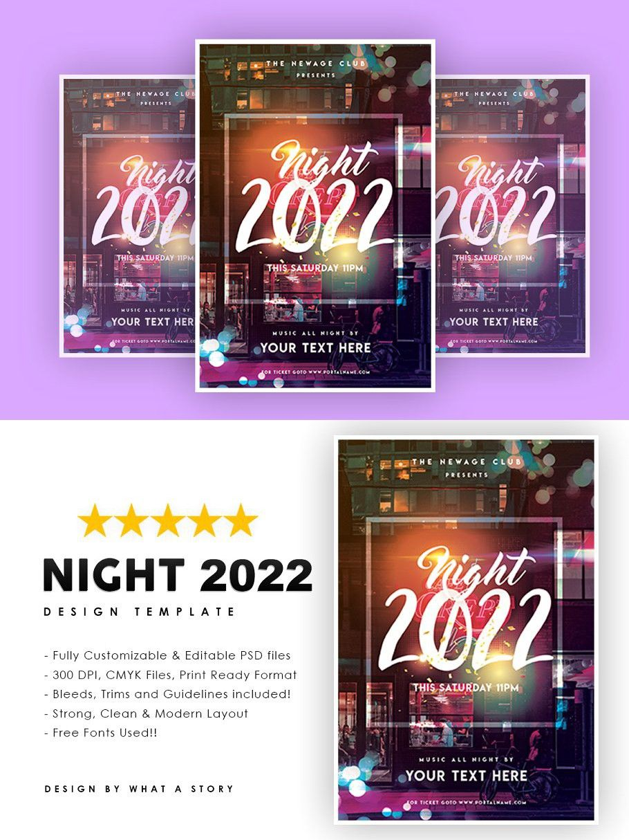 Night 2022 Christmas flyer, Night, New years party