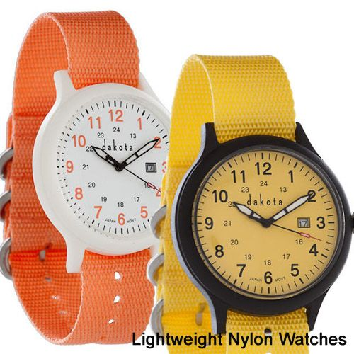 Dakota Lightweight Neon - Nylon watches are perfect for a school day or any day.  Vibrant colors, light on the wrist and only $29.95!