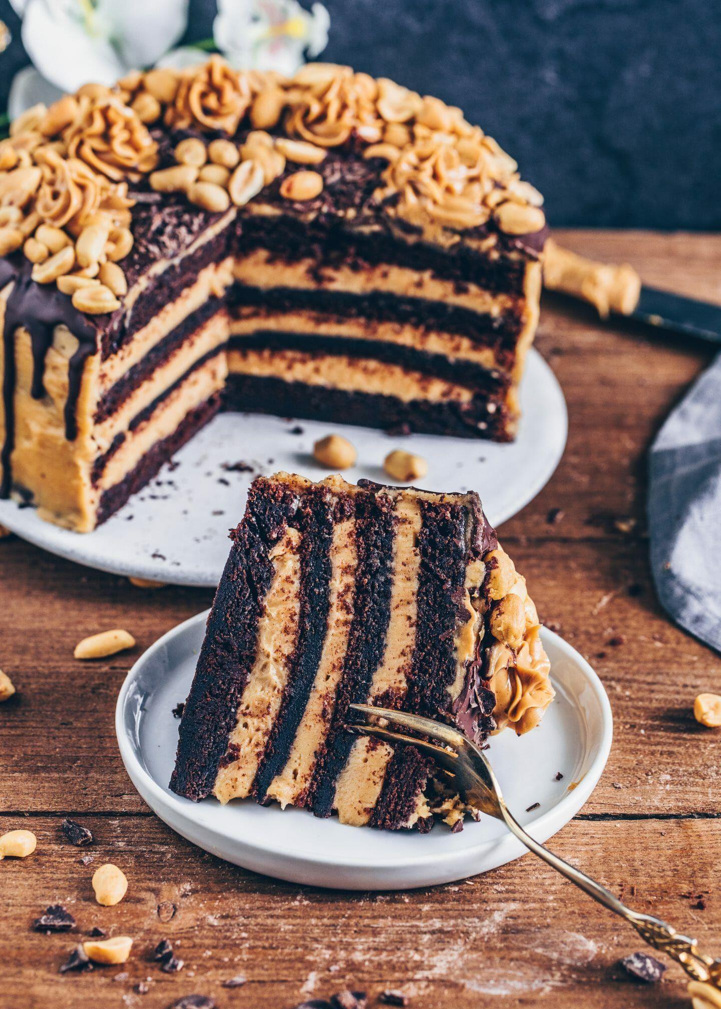Erdnussbutter Schokoladen-Torte - Vegan - Bianca Zapatka | Rezepte