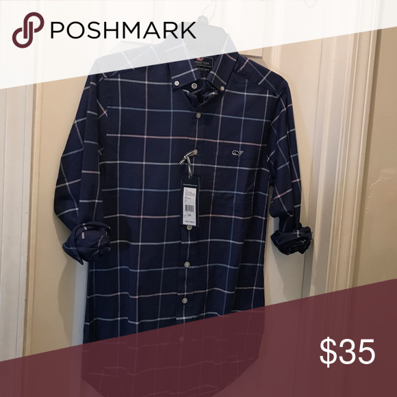 Brand New Vineyard Vines Button Down Brand new never worn with tags on it! Navy blue with white, light blue and pink plaid. Vineyard Vines Shirts Casual Button Down Shirts