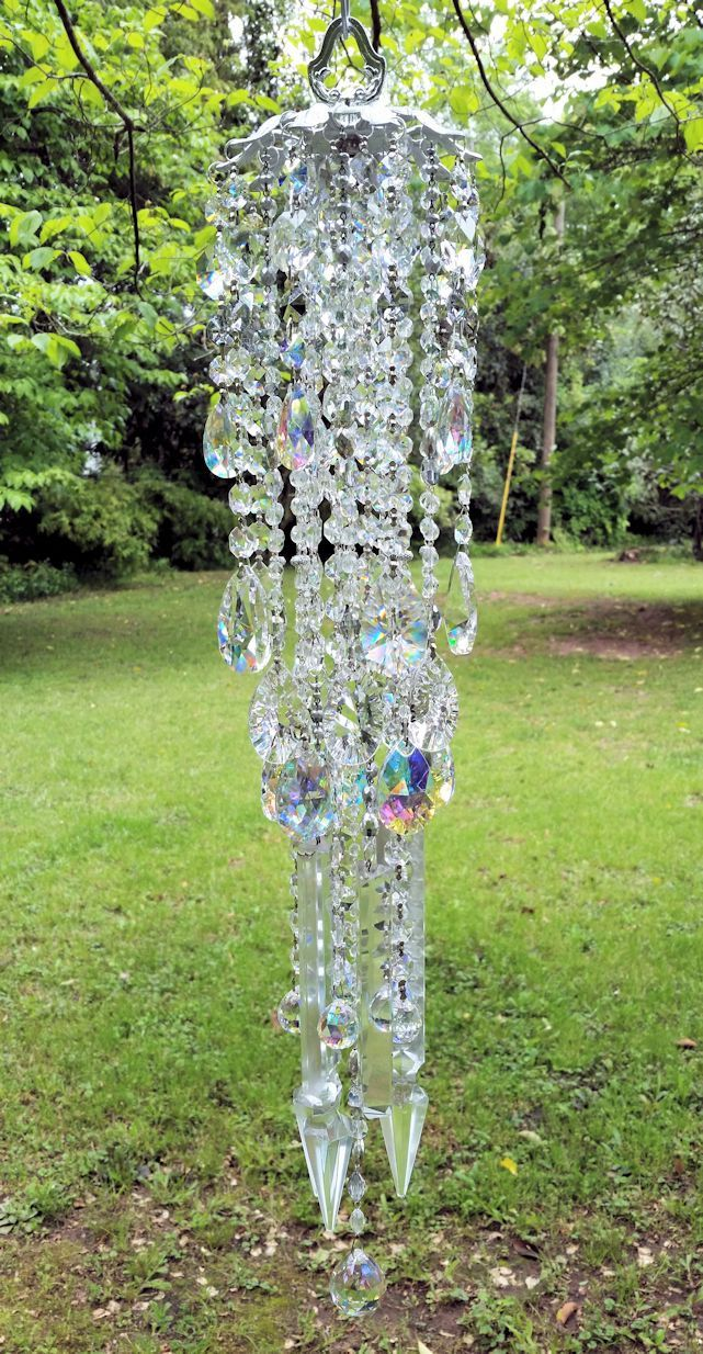 Silver Antique Crystal Wind Chime, Silver Iridescent Crystal Wind ...