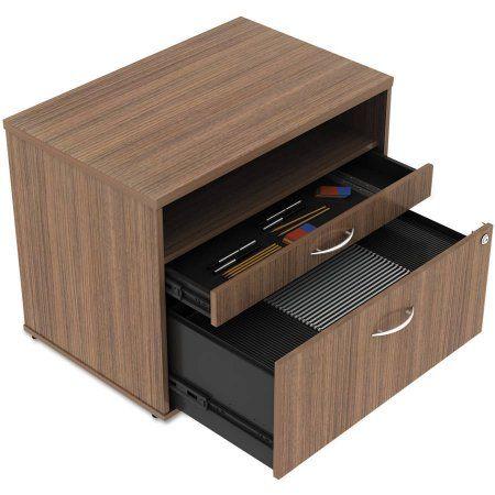 Alera Alera Open Office Series Low File Cabinet Credenza, 29-1/2 inch x 19-1/8 inch x 22-7/8 inch, Walnut, Brown