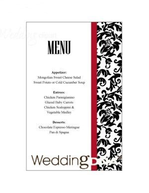 Free Printable Menu Template  Wedding    Printable