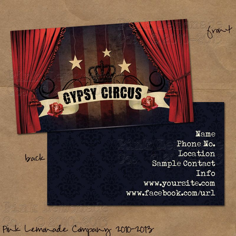 Gypsy circus business card design plus 500 by pinklemonadecompany gypsy circus business card design plus 500 by pinklemonadecompany 5500 reheart Images