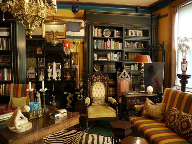 Eclectic Library | La Vie Boheme Home | Antique decor
