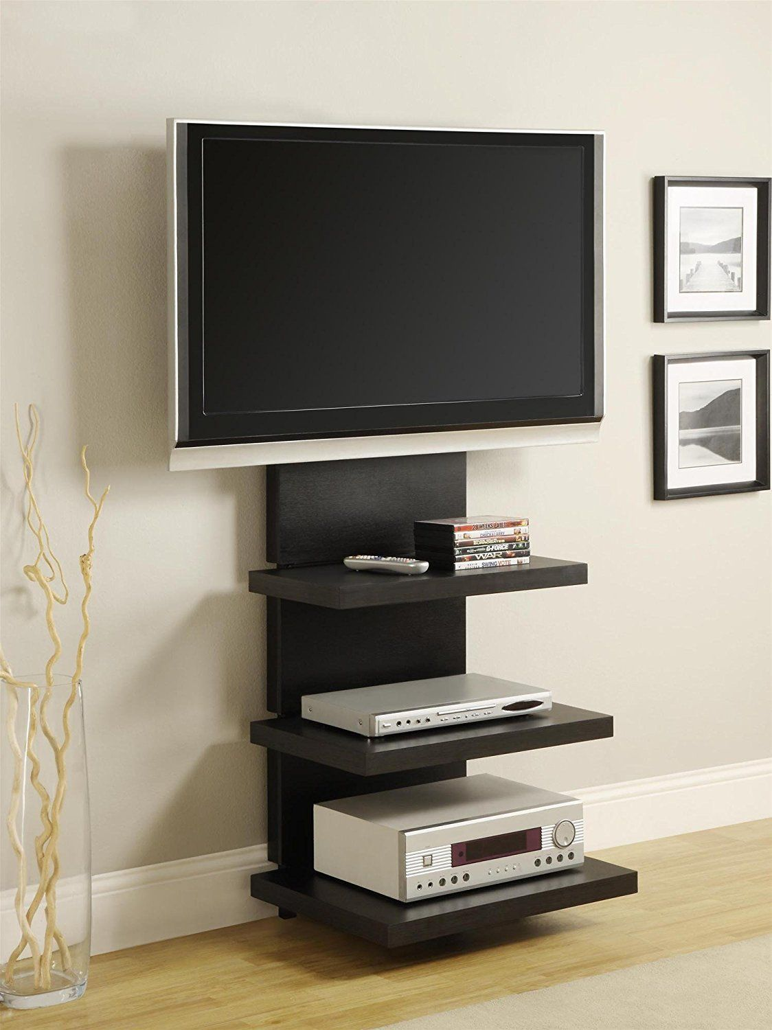 amazon com altra furniture hollow core altramount tv stand with mount for tvs up to 60 inch black espresso kitchen dining