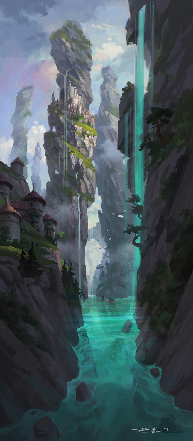 Render en escenarios finales concept art referencias for Waterfall environment