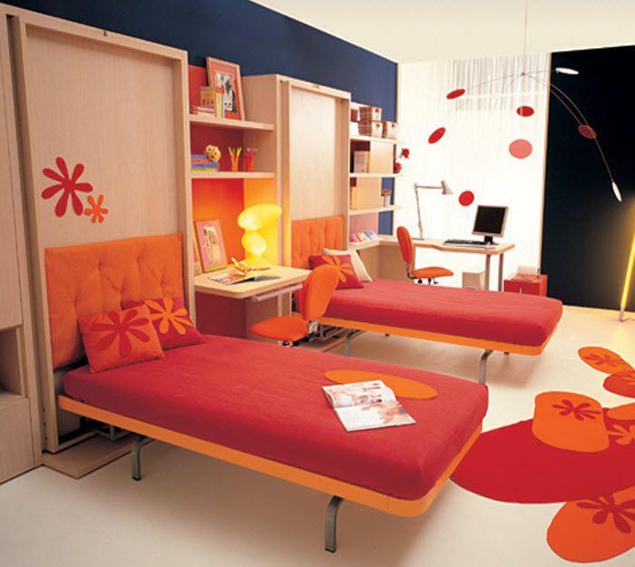 brilliant joyful children bedroom furniture. Two Single Foldable Orange Beds For Kids Room #interior #design Brilliant Joyful Children Bedroom Furniture