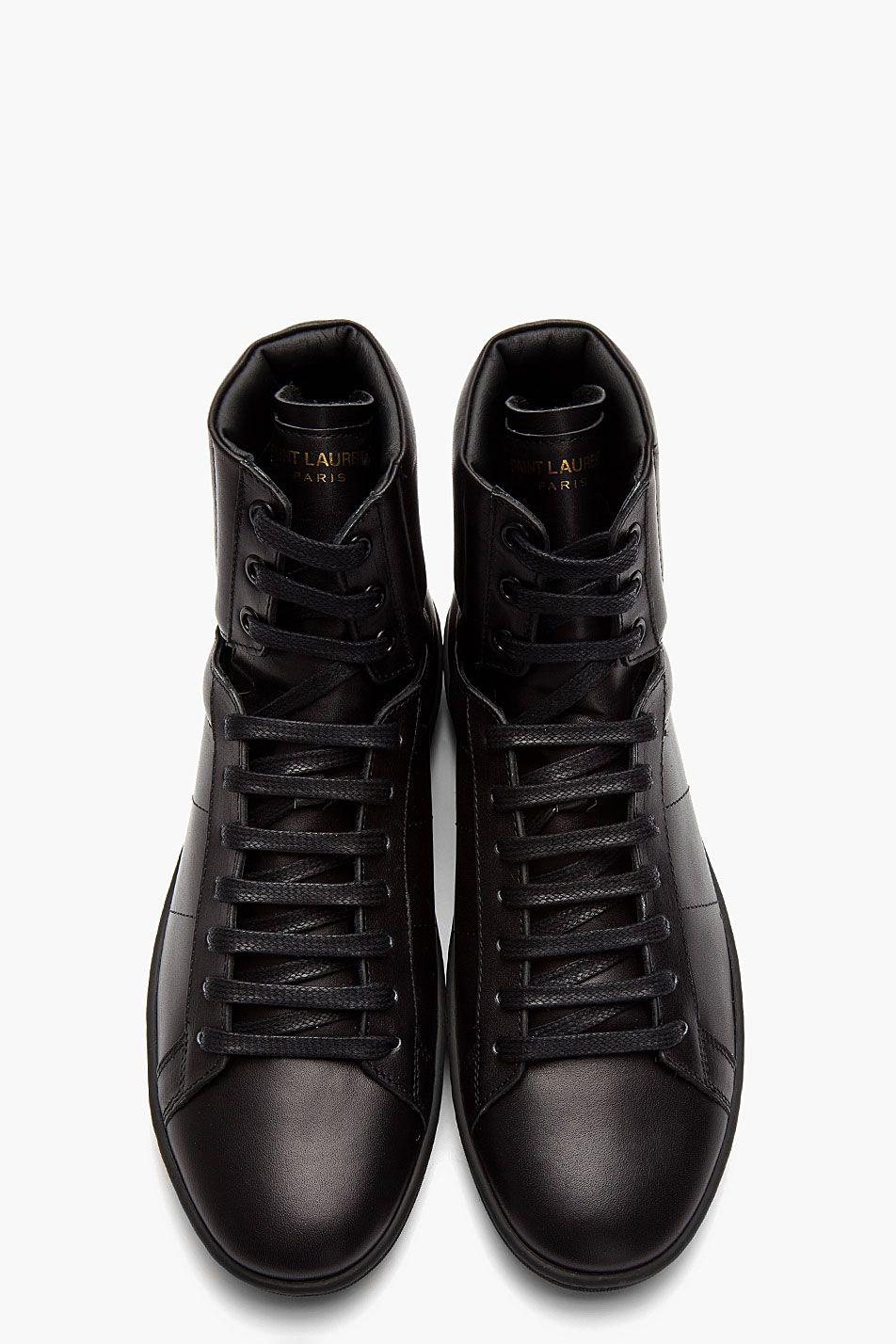 SAINT LAURENT // Black Classic Leather high-Top sneakers 31418M050001 High  top leather sneakers