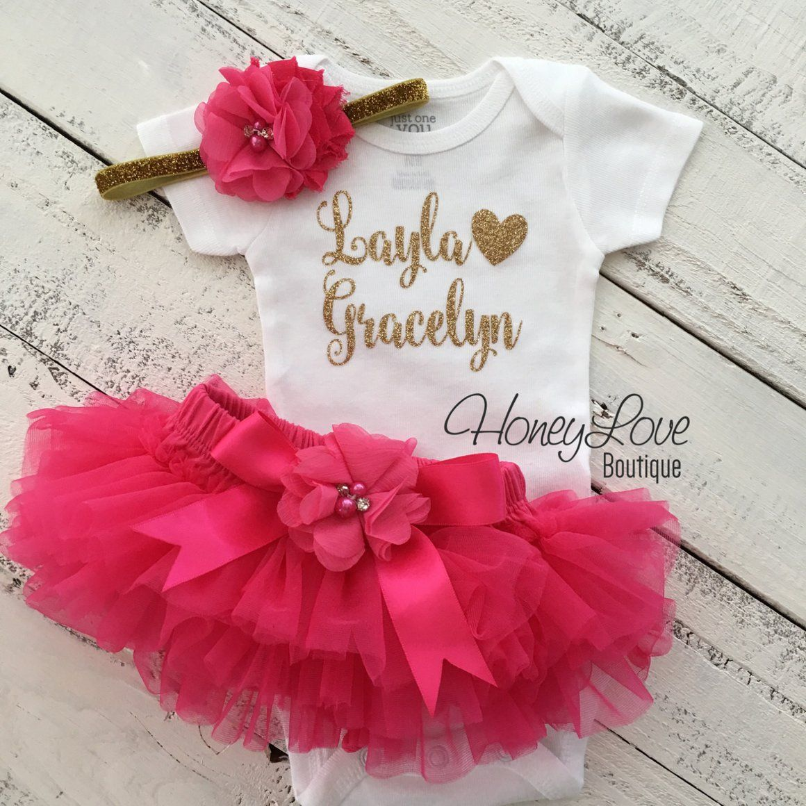 bbaf4cd05d PERSONALIZED Name Outfit - Gold Glitter and Watermelon/Hot Pink - embellished  bloomer - HoneyLoveBoutique