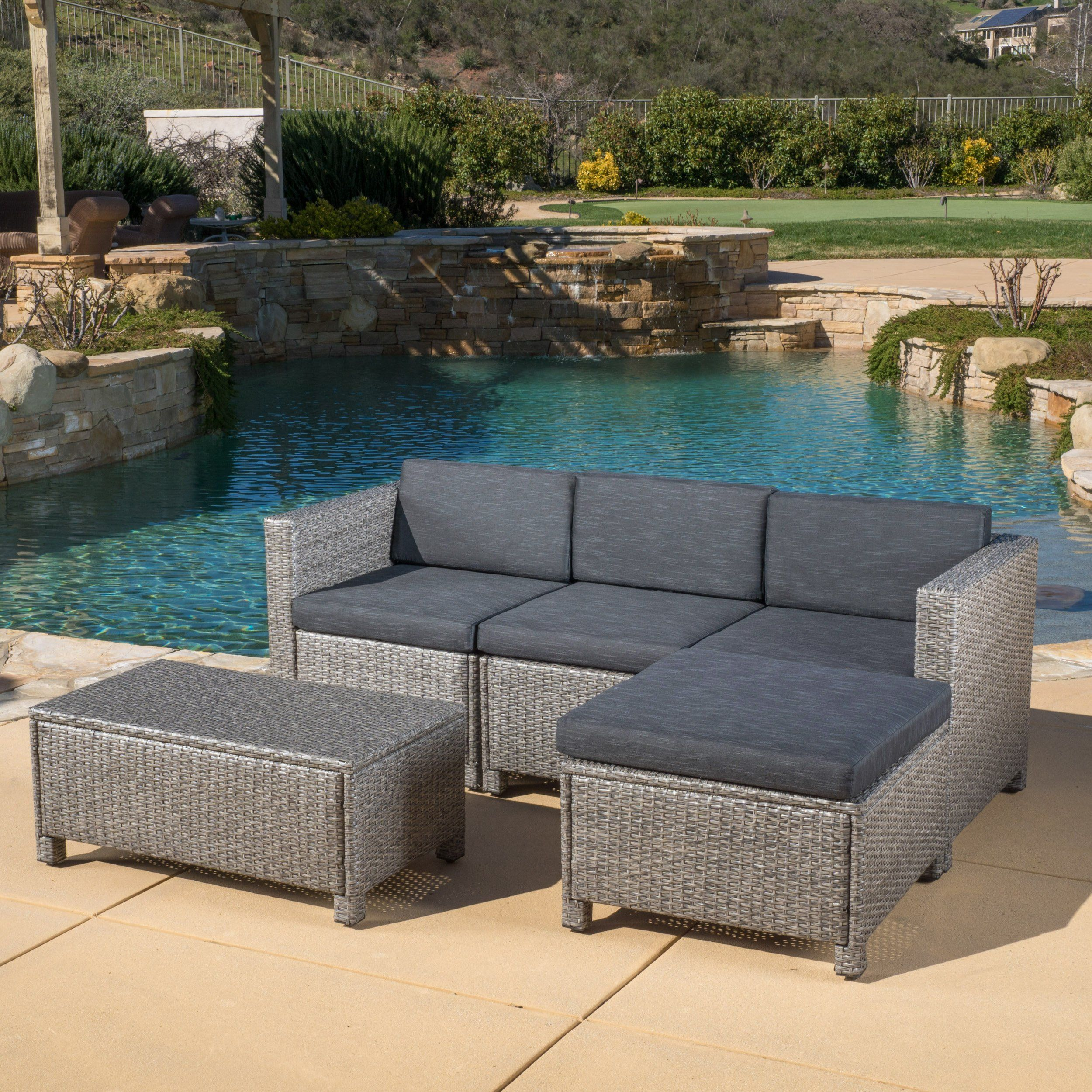 Lorita Outdoor 5 piece Grey Wicker Sectional Sofa Set with Black