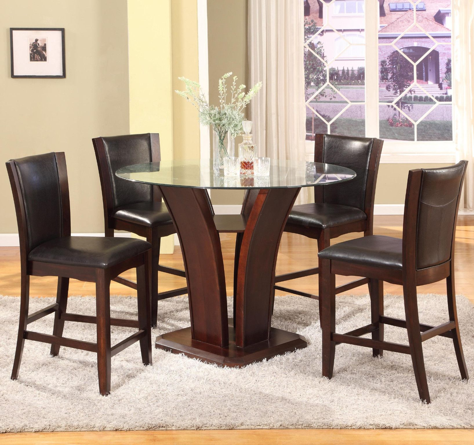 Camelia Espresso 5 Piece Counter Height Table And 4 Chairs 649 00 Table 300 00 54 Dia X 36 H Glass Top Dining Table Dining Room Sets Dining Table