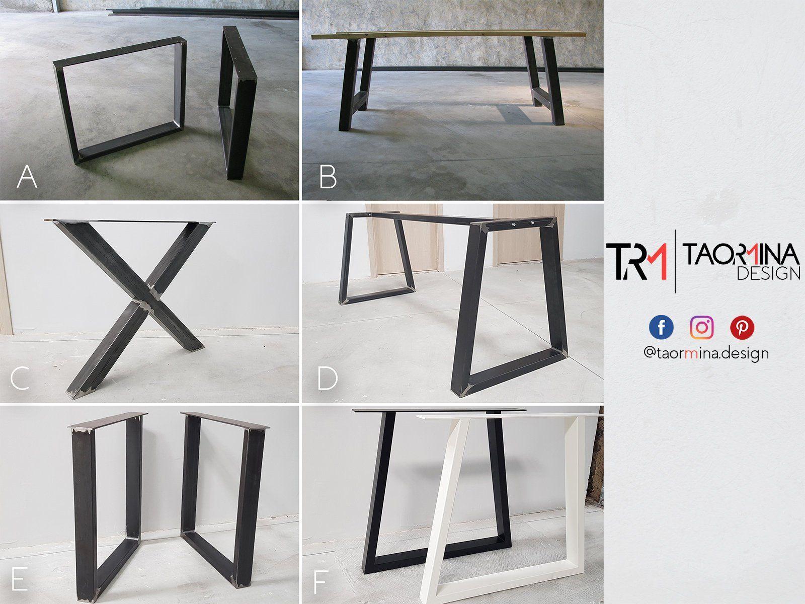 Verniciare Un Tavolo Di Legno 2x pieds de table industriel, gambe per tavolo in stile