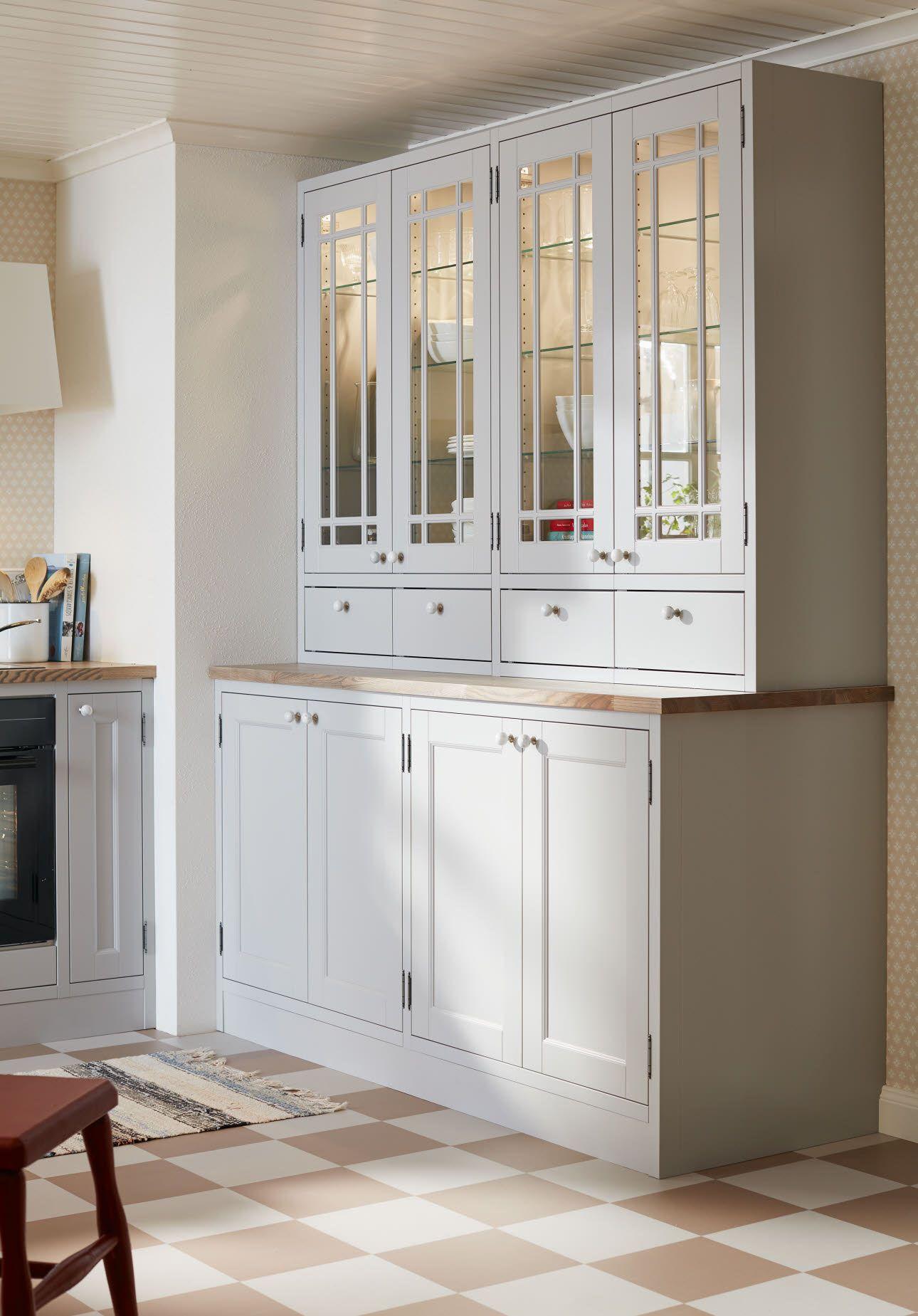 mobilia kitchen marbodal fager ljusgr plus b nkst ende vitrin k k