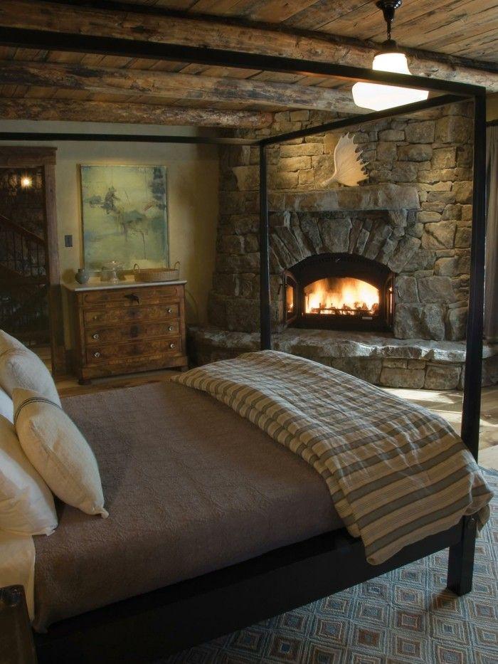 Schlafzimmer Landhausstil Steinwand Kamin Gemütlich Teppich