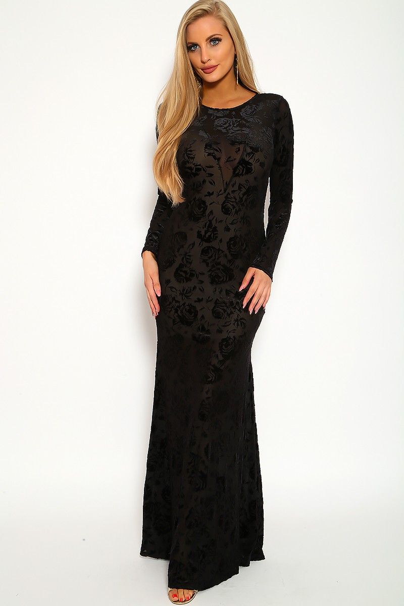 Sexy black floral velvet long sleeve maxi party dress cute maxi