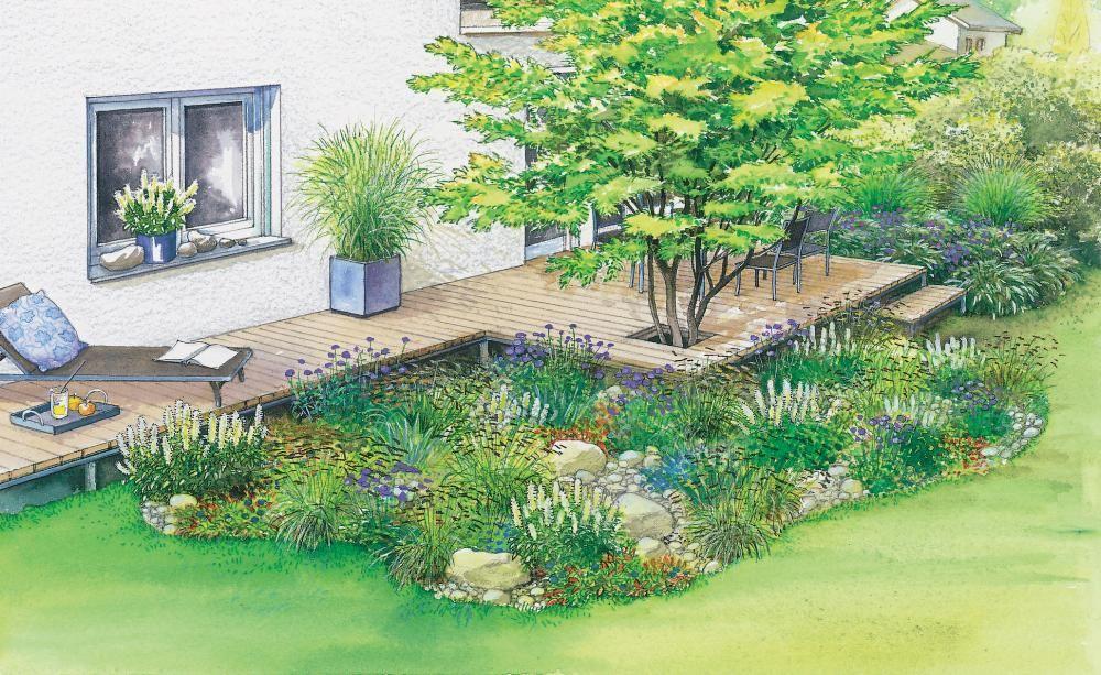 1 Garten 2 Ideen Neues Flair Fur Eine Alte Terrasse Garten Vorgarten Ideen Vorgarten