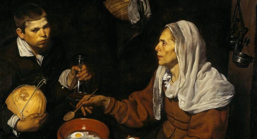 Vieja friendo huevos, cuadro de Diego Velázquez del año 1618.