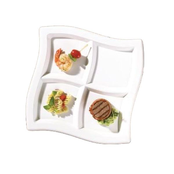 Find this Pin and more on Plastic Upscale Dinnerware.  sc 1 st  Pinterest & Black 10 Inch 4 Compartments Square Waves Plastic Plates/Set of ...