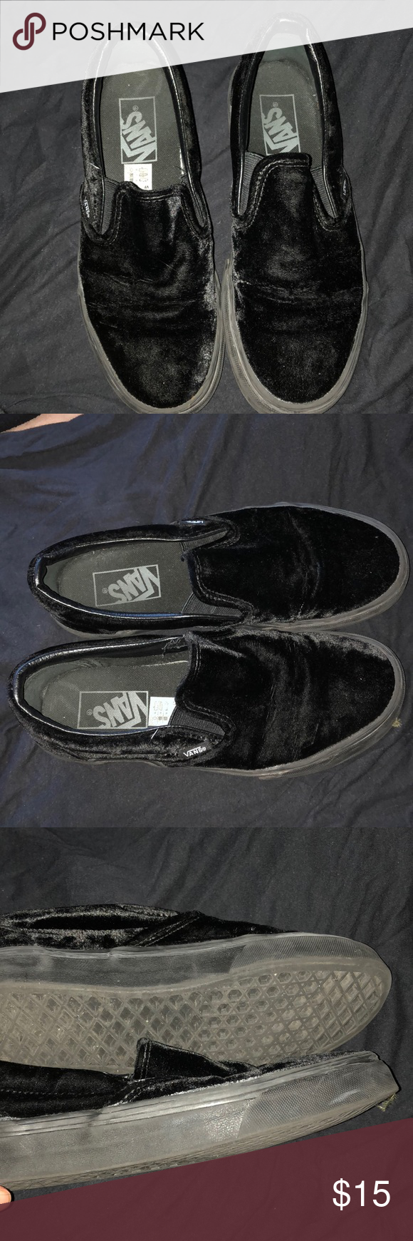 4feb4a38bcba VANS SLIP ON VELVET SHOE BlAck Used 4 times Bought on Depop Still in good  condition Creases but they aren t noticeable Men size 5 Women size 6.5 Vans  Shoes