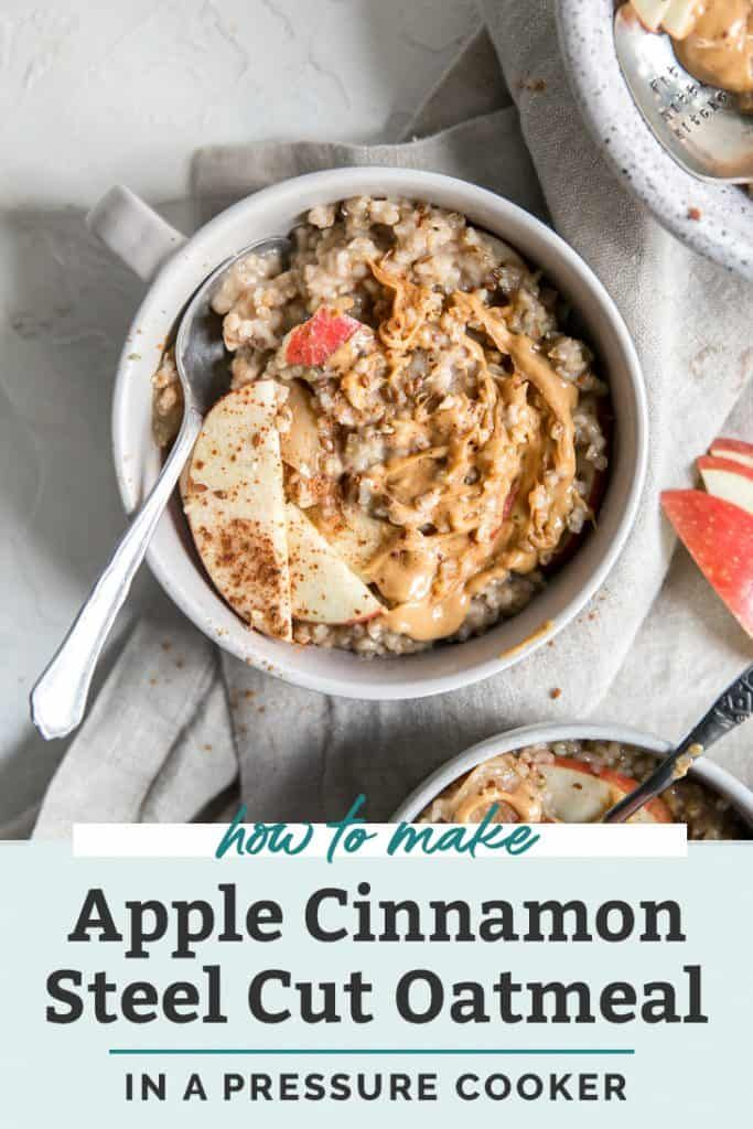 NEW FAVORITE! This Instant Pot steel cut oatmeal recipe is made deliciously flavorful with apples and cinnamon! And ready in less than 30 minutes with not pot to watch! Use gluten free steel cut oats if needed, recipe can also be made nut free if using hemp or oat milk. Top with peanut butter and your favorite superseeds for a hearty breakfast. Instant Pot oats are quick, easy and perfect for meal prep. #bobsredmill #ad #glutenfree #recipes #steelcutoats #instantpot