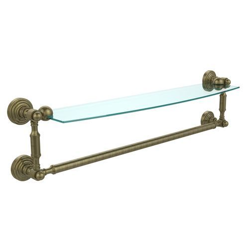 Waverly Place Antique Brass 24 Inchx5 Inch Glass Shelf w/Towel Bar