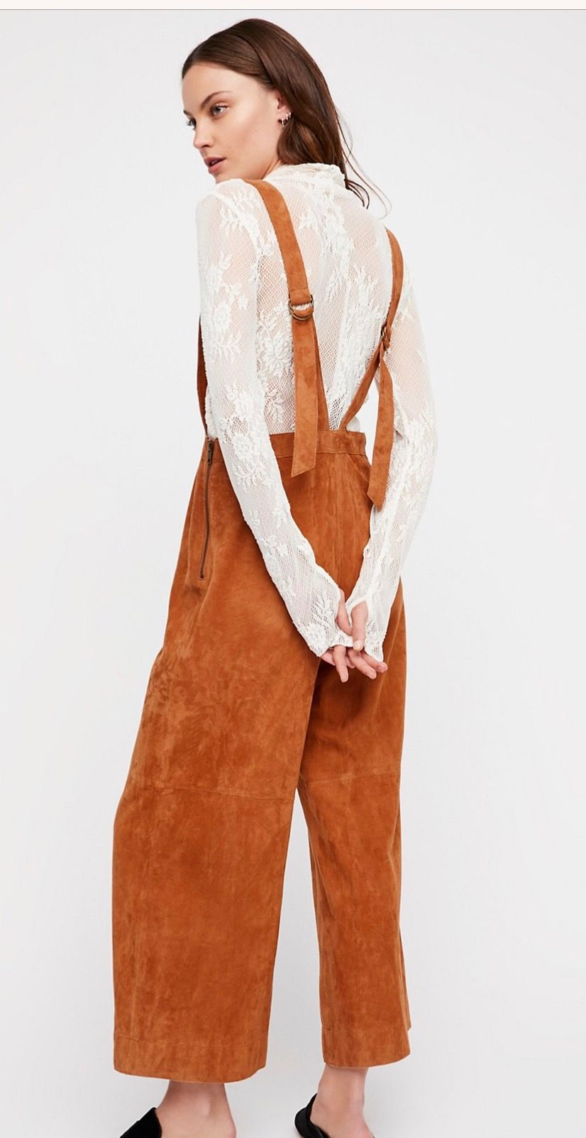 e0f64dace84 Miami jumpsuit by Free People. Cute midi length rusty brown suede jumper