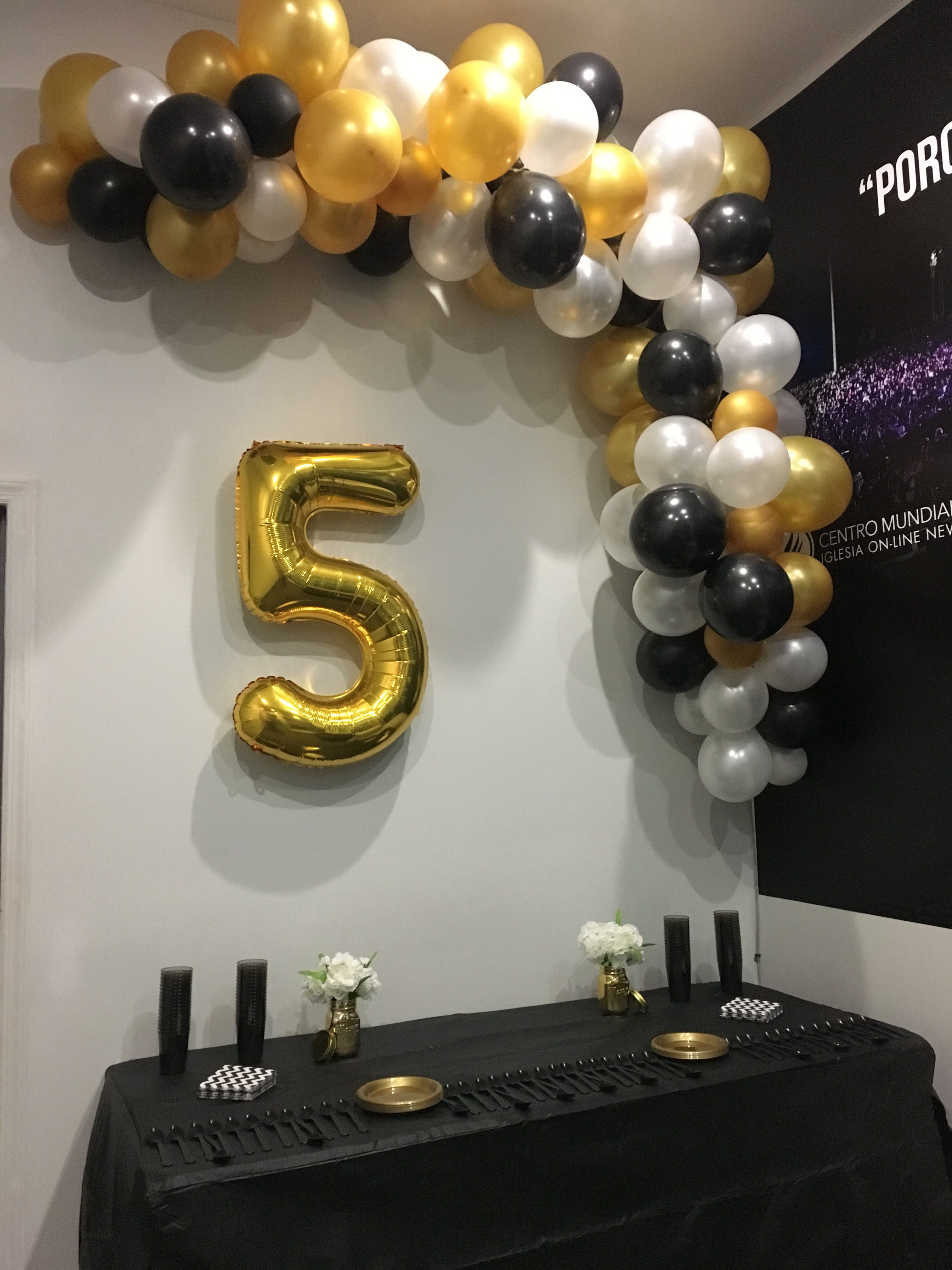 Diy Balloon Garland White Gold Black Black And Gold Party