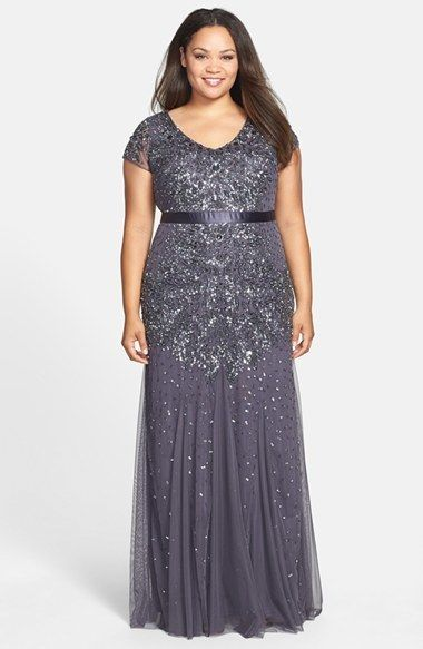 Adrianna Papell Beaded V Neck Gown Plus Size