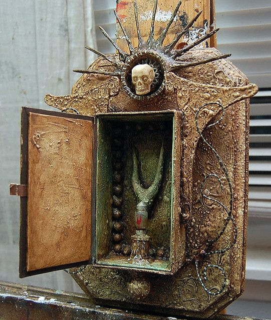 espoiriere de my sans fyne [pray for me always]    assemblage wall shrine sculpture   by julie zarate  inspired by michael demeng
