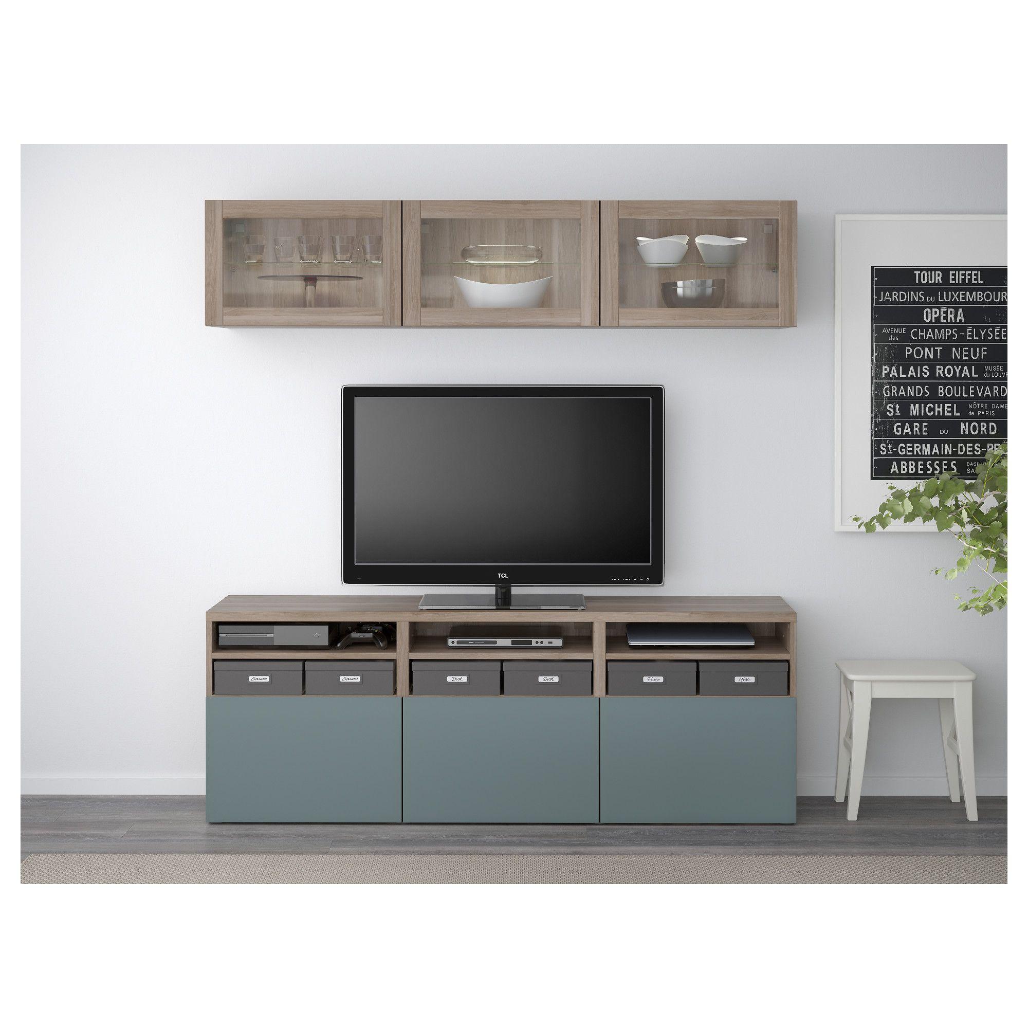 BEST… TV storage bination glass doors gray stained walnut eff