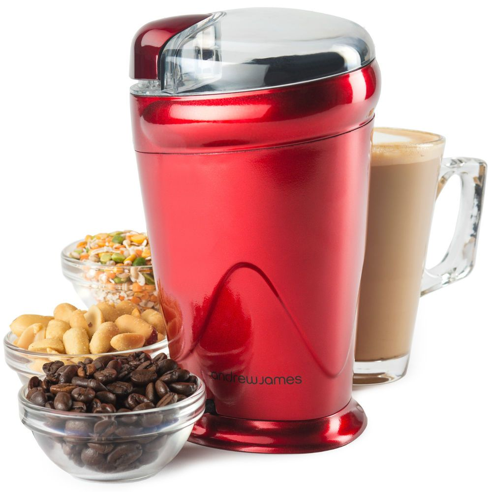 andrew james red electric coffee bean nut spice grinder mill 150 watt latte in home andrew james red electric coffee bean nut spice grinder mill 150      rh   pinterest com