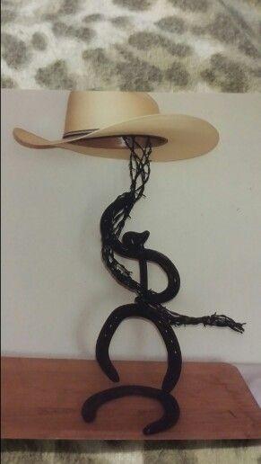 Horseshoes cowboy hat rack metal barb wire