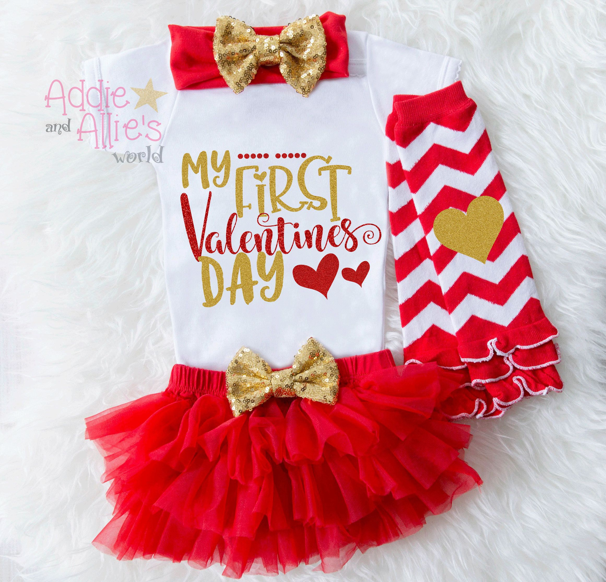 Baby Girl Valentine Outfit, My First Valentine Shirt, Baby Valentines Day  Outfit, My First Valentine Outfit, Girls First Valentine Set, V3G