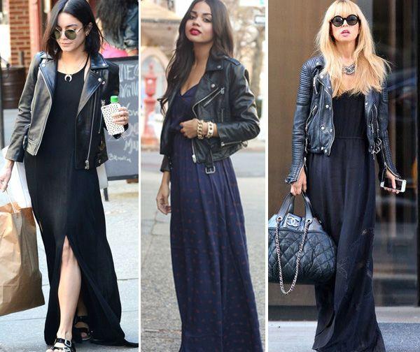 Como usar vestido longo com jaqueta de couro