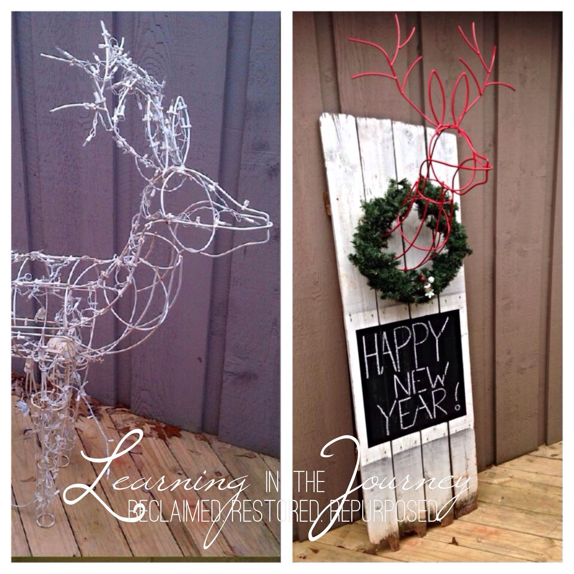 Reclaimed fence turned Christmas display