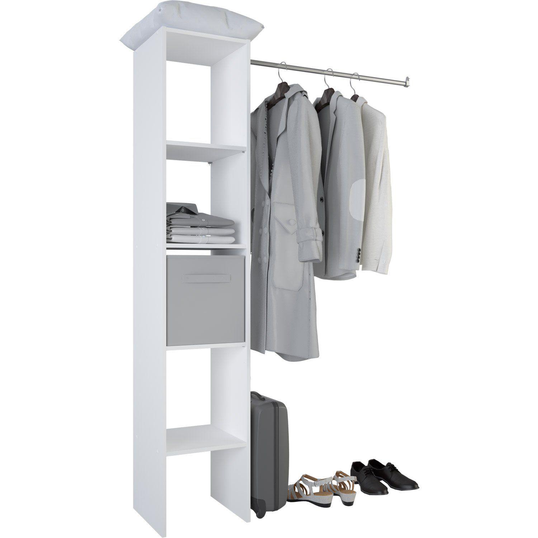 Kit Dressing Blanc Basic H 185 5 X L 119 5 X P 39 8 Cm Dressing Blanc Rangement Dressing Amenagement Placard