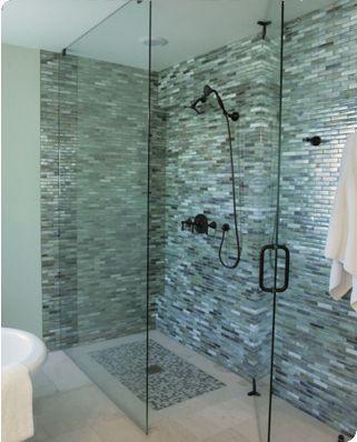 Unique Glass Tile Shower Walls