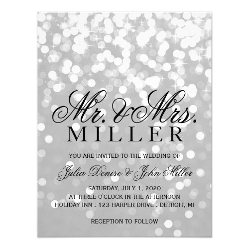 Wedding invitation sparkling couple grey silver future mrs wedding invitation sparkling couple grey silver stopboris Gallery