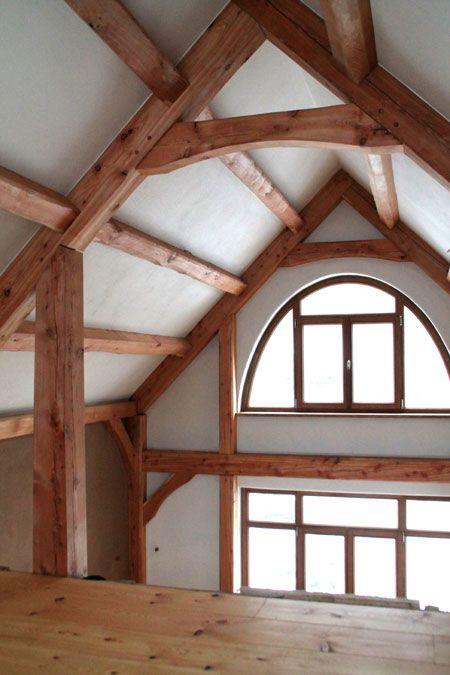 Innenraum Eines Fachwerk Neubaus In Timberframe Bauweise