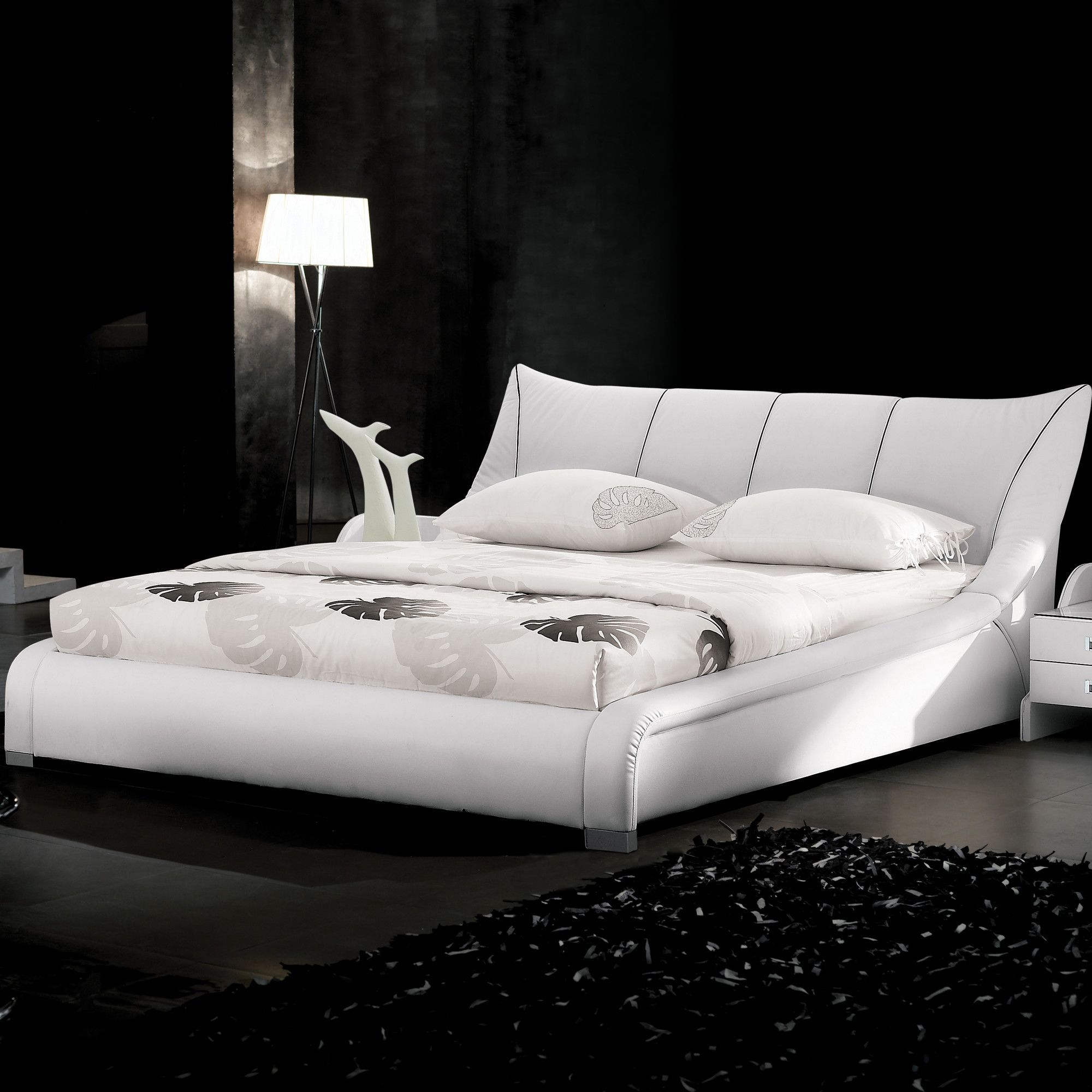 kingsburg white wood faux leather queen bed the classy home kid