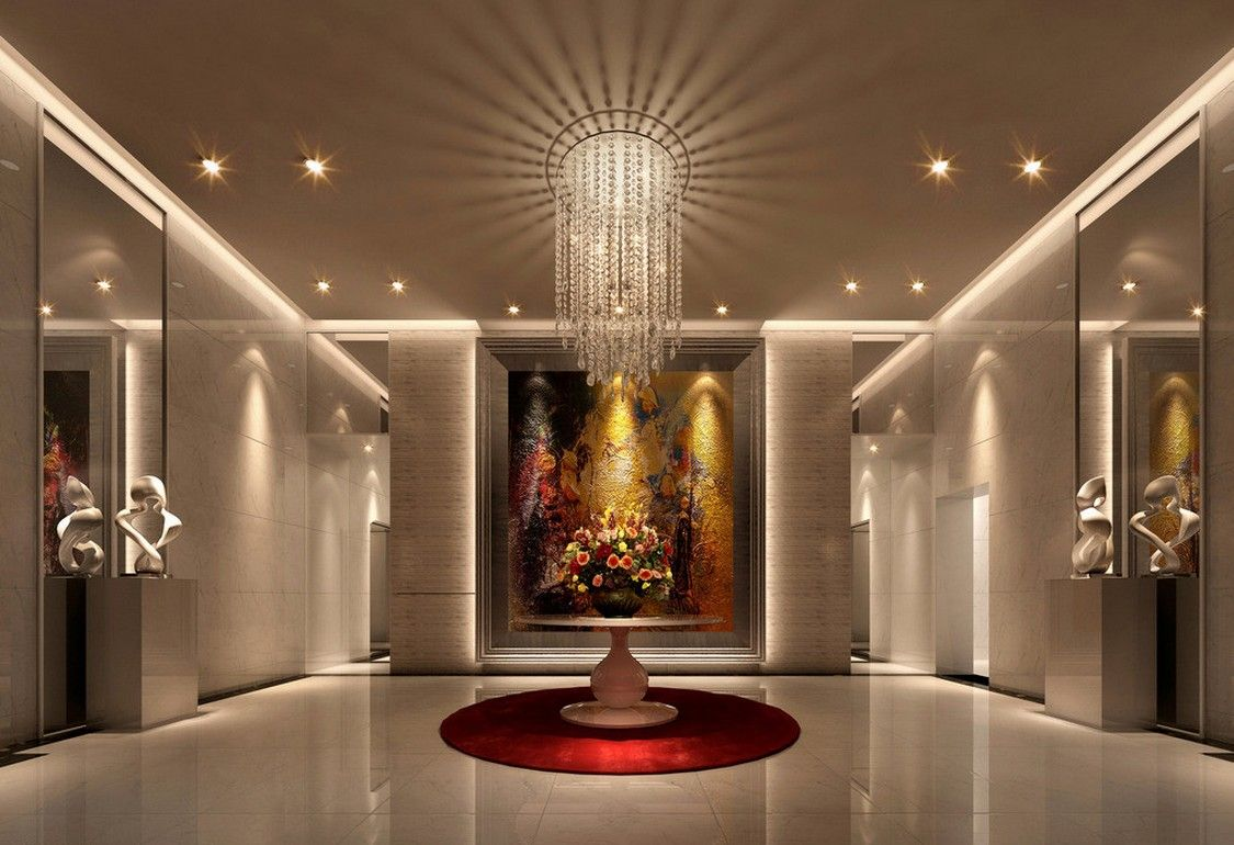European style villa entrance decoration download 3d for Modern contemporary decor