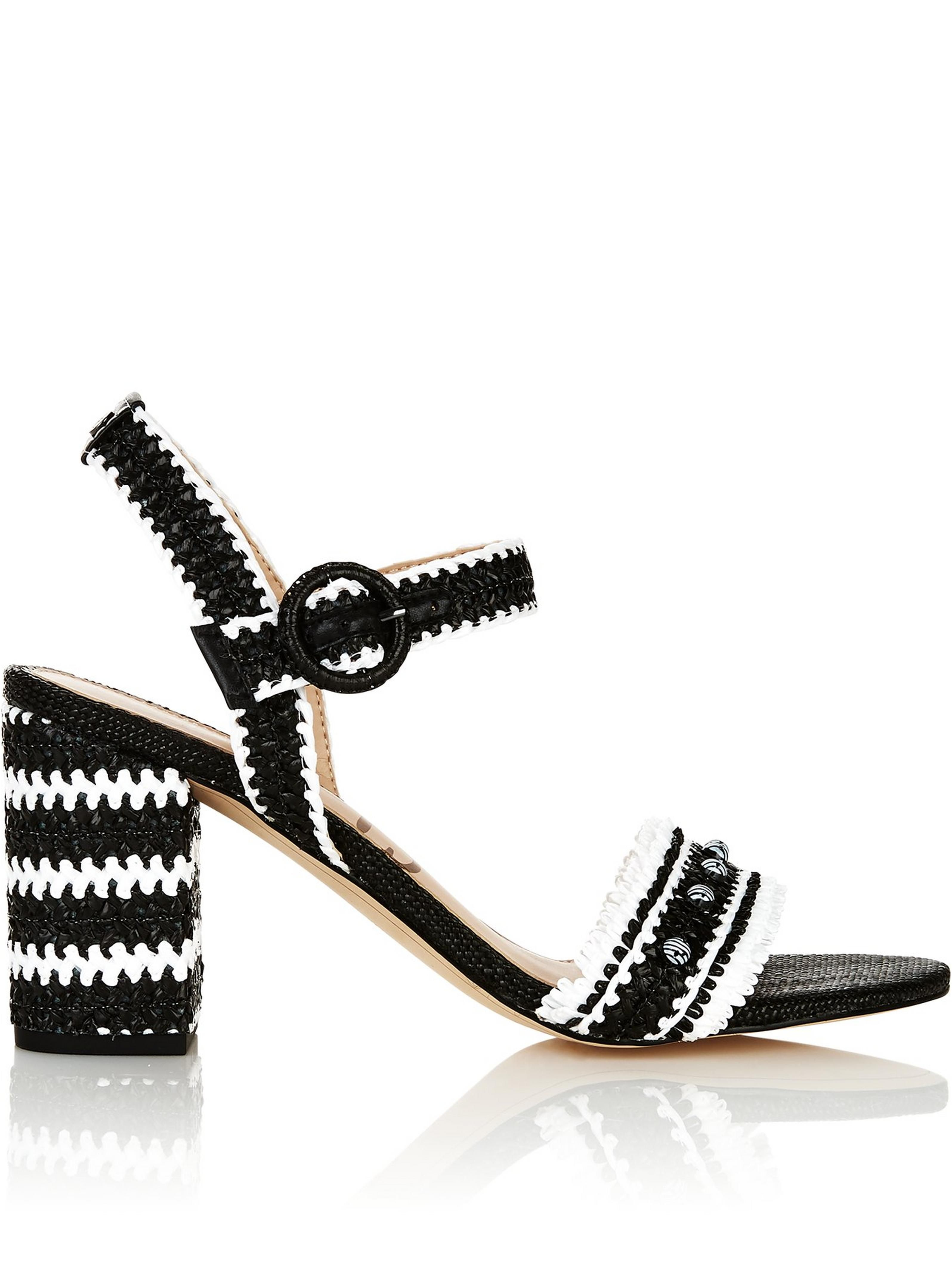 648298508ea1 SAM EDELMAN Olisa Heavy Woven Raffia Block Heeled Sandals- Black White