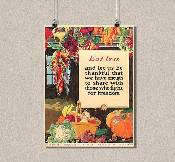 poster eat less vintage poster war propaganda retro design art print quality home wall