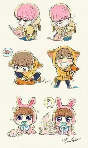 y el bebe jungkook ahora despierto estaba a cargo de la chica que despues de haberlo baa ado lo cambio con el traje de conejo que le compro