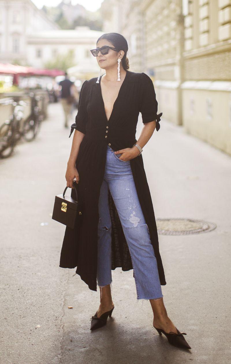 Balenciaga Knife Mules Outfit Fashion Landscape Com Fashion Landscape Dress Over Jeans Black Shirt Dress Outfit Dress Over Pants [ 1259 x 800 Pixel ]