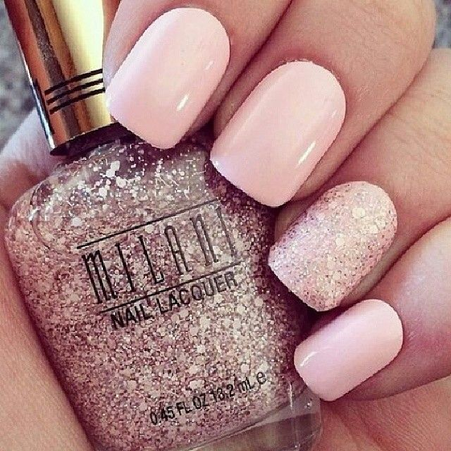 Pretty pale pink nails with a glitter feature nail. Great for prom ...